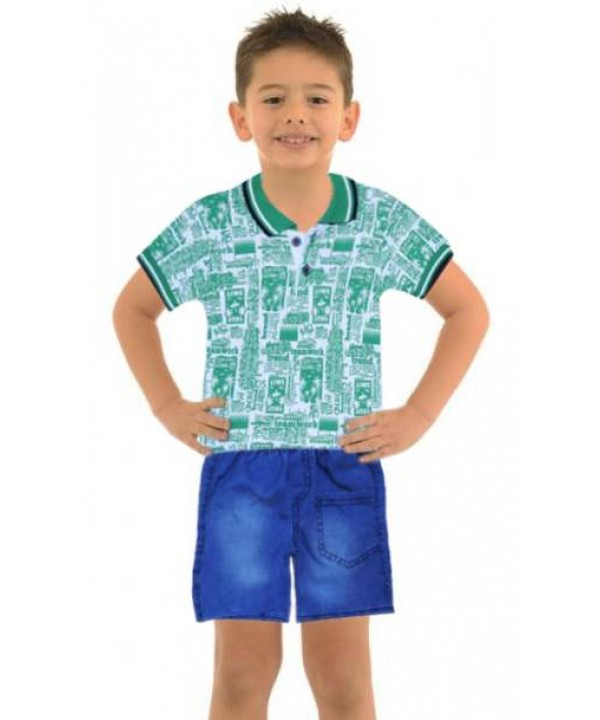 1-2-3 age boy summer shirt denim capri suit Mh