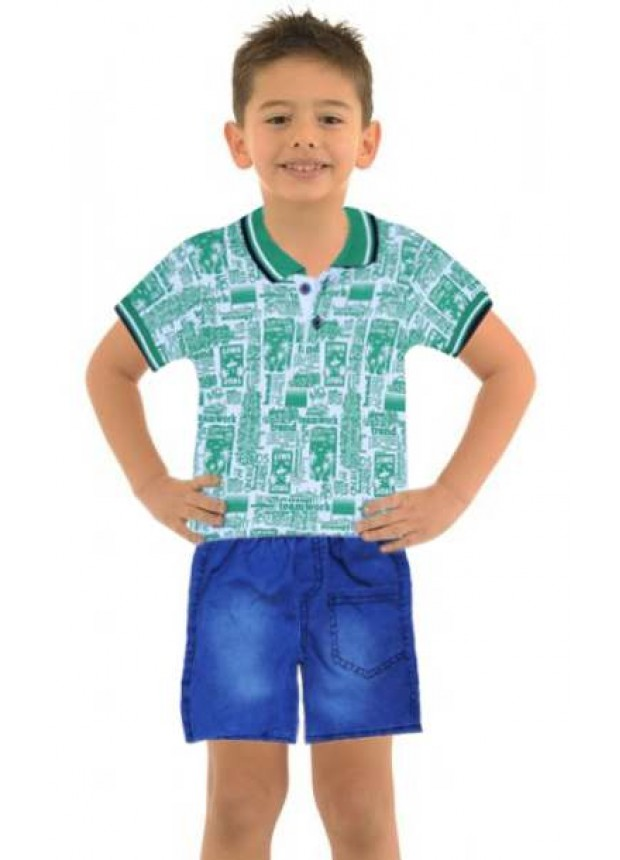 1-2-3 age boy summer shirt denim capri suit Mh