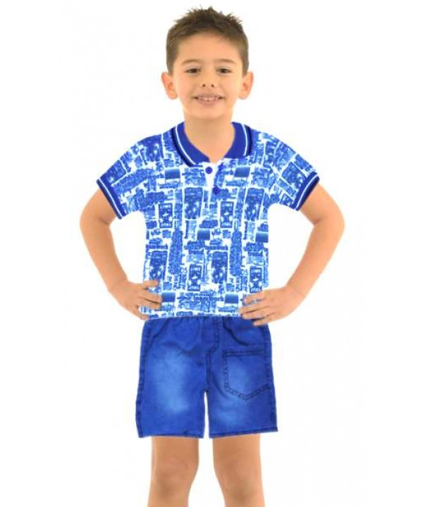 1-2-3 age boy summer shirt denim capri suit Mi