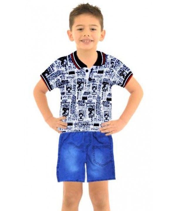 1-2-3 age boy summer shirt denim capri suit Mk