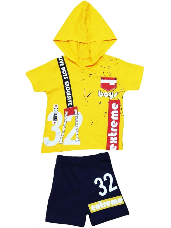2-3-4-5 age children's summer suit with hood extreme print M1