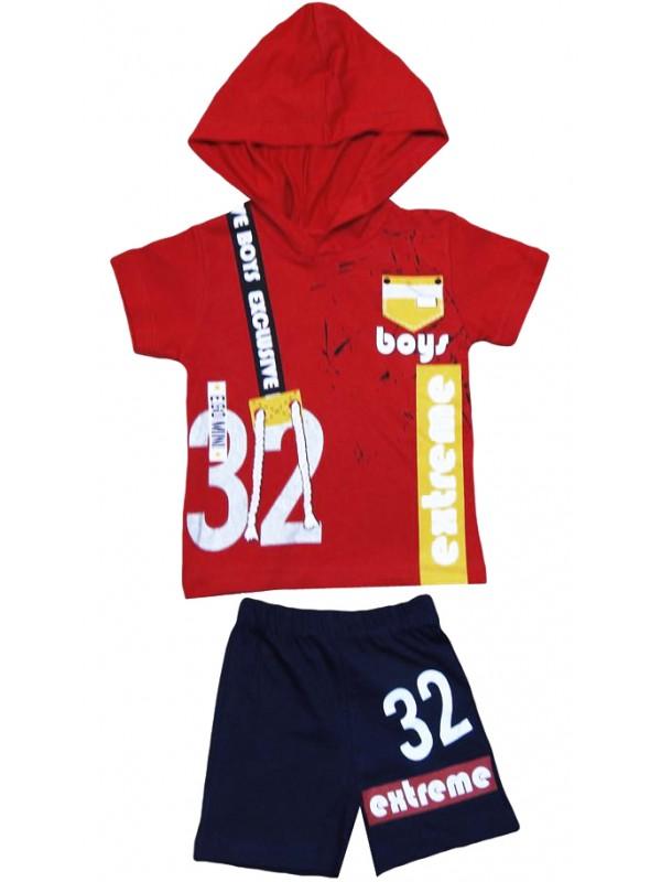 2-3-4-5 yaş çocuk yazlık takım kapşonlu extreme baskılı M3