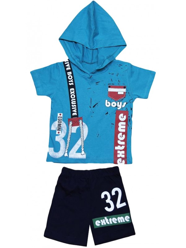 2-3-4-5 age children's summer suit with hood extreme print M4