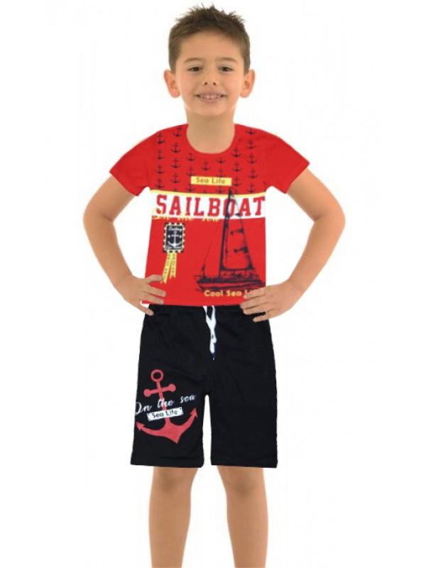 6-7-8-9 age boy's summer suit sea sailboat M1