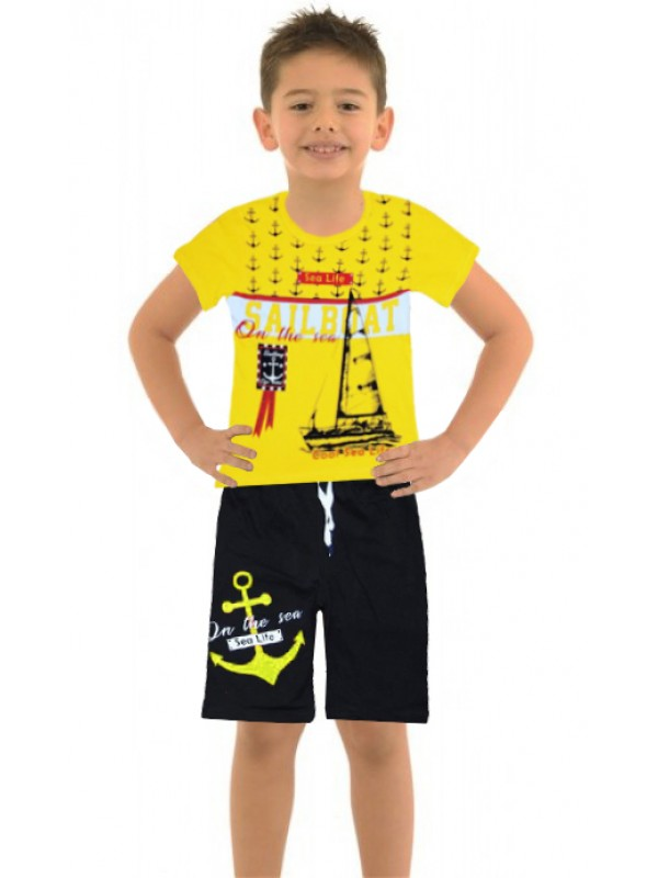 6-7-8-9 age boy's summer suit sea sailboat M2