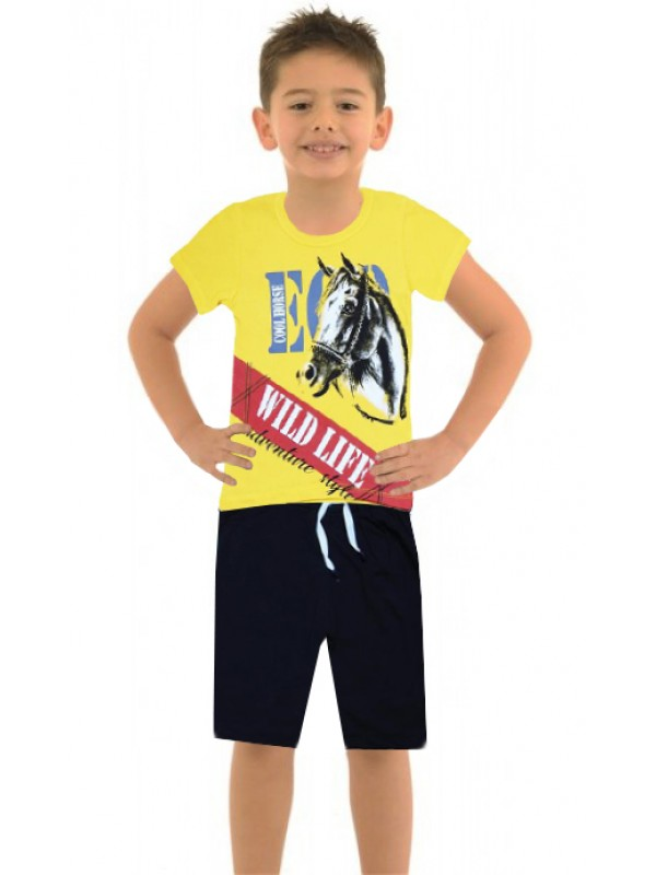 6-7-8-9 age summer boy double suit horse print color1