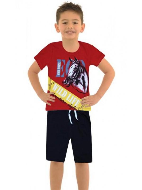 6-7-8-9 age summer boy double suit horse print color2