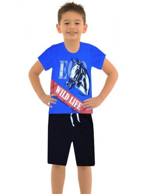 6-7-8-9 лет летний мальчик двойной костюм с принтом лошади color5