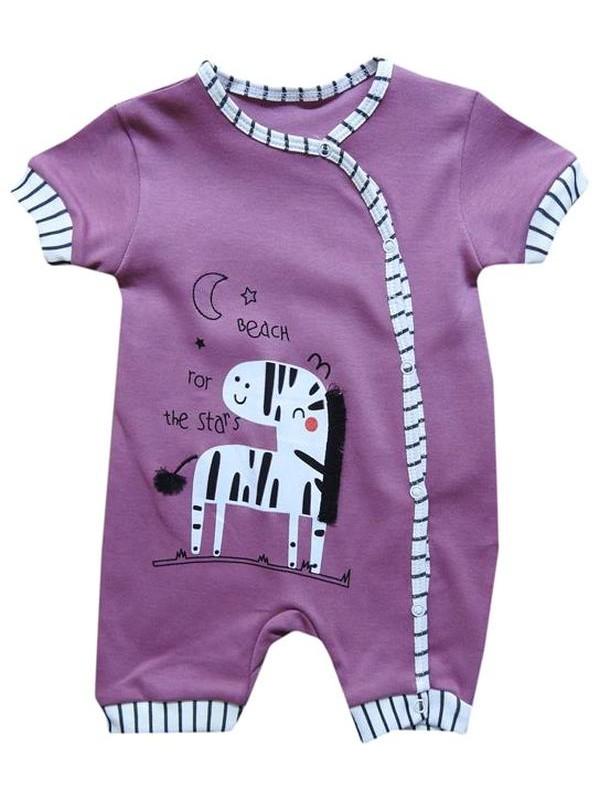 Комбинезоны для новорожденных из 100% хлопка для 3-6-9 месяцев темно-фиолетового цвета