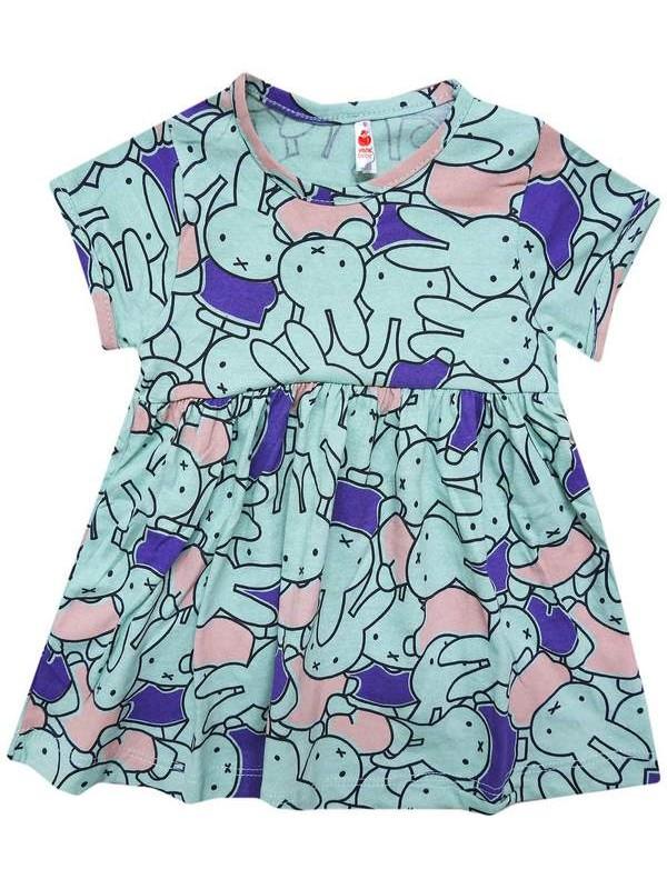 1-2-3-4 yaş ucuz yazlık karışık desenli kız çocuğu elbiseleri 5Mdl