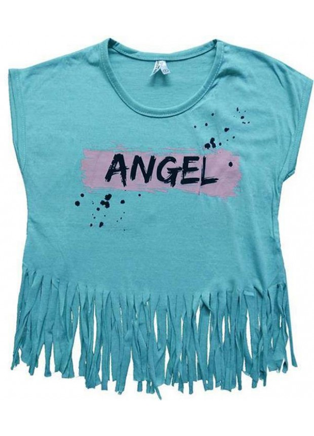 2-3-4-5-6-7 years girls t-shirt with tassels summer color 1