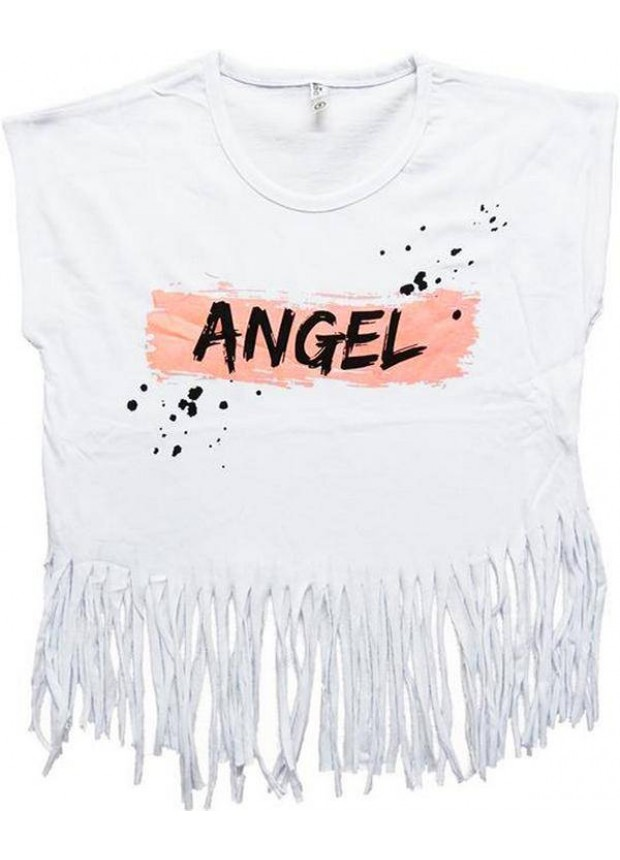 2-3-4-5-6-7 years girls t-shirt with tassels summer color 2