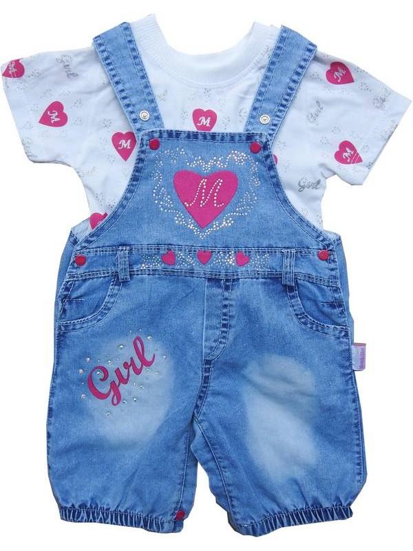 3-6-9 ay kız bebek t-shirt kot takım 2kod