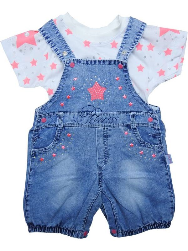 3-6-9 months baby girl t-shirt denim suit 5code