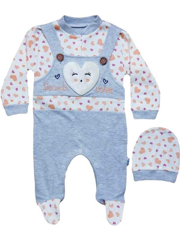 0-3-6 ay %100 pamuk yenidoğan bebek tulum şapkalı pembe renk