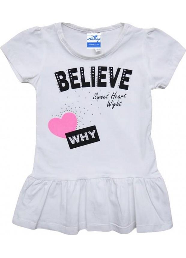 1-2-3-4 yaş kız çocuk tunik tişört kaliteli ucuz beyaz