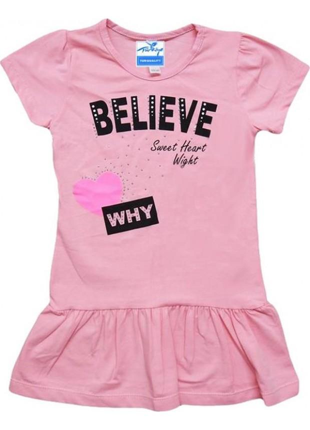 1-2-3-4 yaş kız çocuk tunik tişört kaliteli ucuz pembe