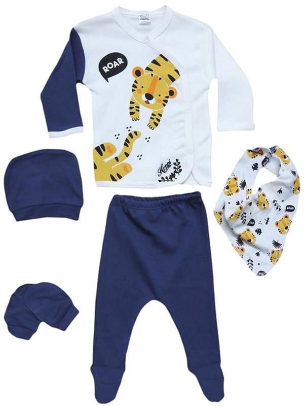 Одежда для новорожденных 0–3–6 месяцев темно-синий с принтом тигра оптом