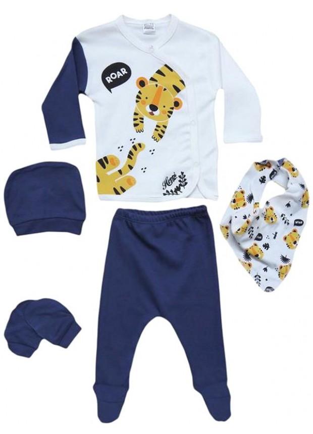 0 - 3 - 6 months newborn suit clothes navy blue tiger print wholesale