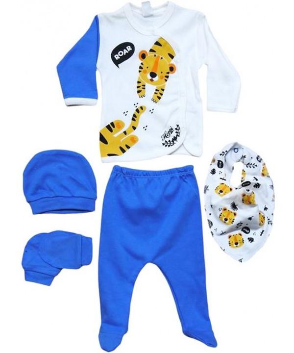 0 - 3 - 6 months newborn suit clothes blue tiger print wholesale