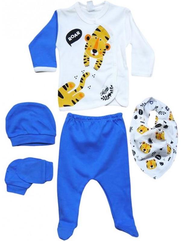 0 - 3 - 6 месяцев костюм для новорожденных одежда синий тигровый принт оптом