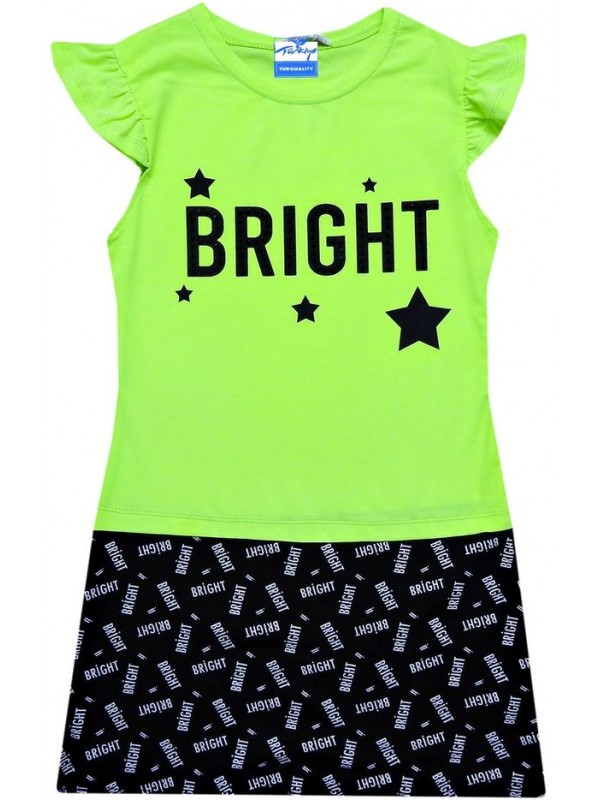 6-7-8-9 years old girls tunic t-shirt dress - summer product green