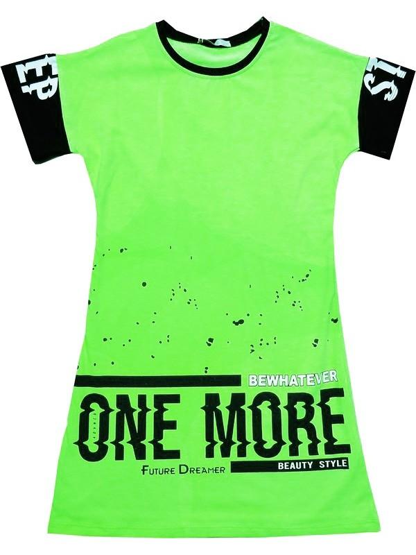 Футболка-туника для девочек 6-7-8-9 лет оптом светящаяся зеленая