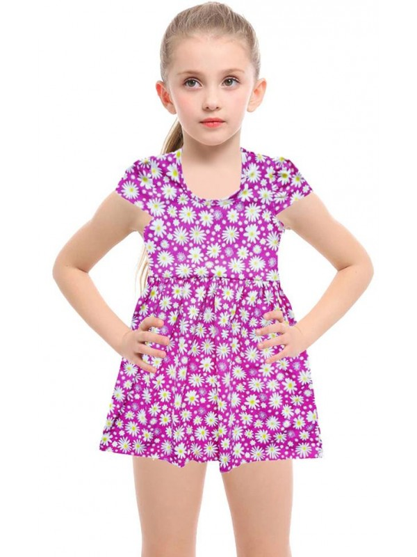 2-3-4-5 years old floral printed summer cotton girls dress pink