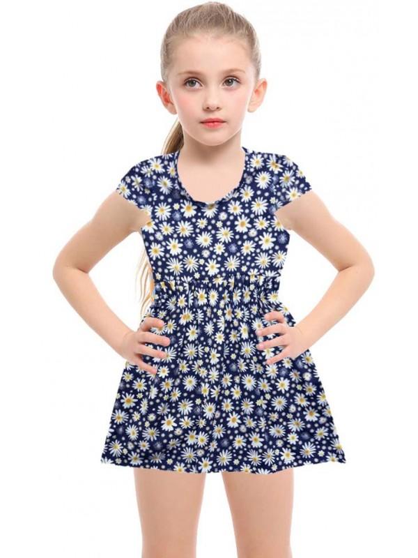 Летнее хлопковое платье для девочек с цветочным принтом для 2-3-4-5 лет темно-синее