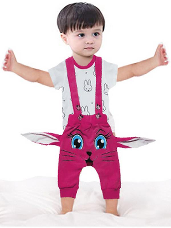 3-6-9 ay bebek t-shirt + salopet tulum elbise 5M