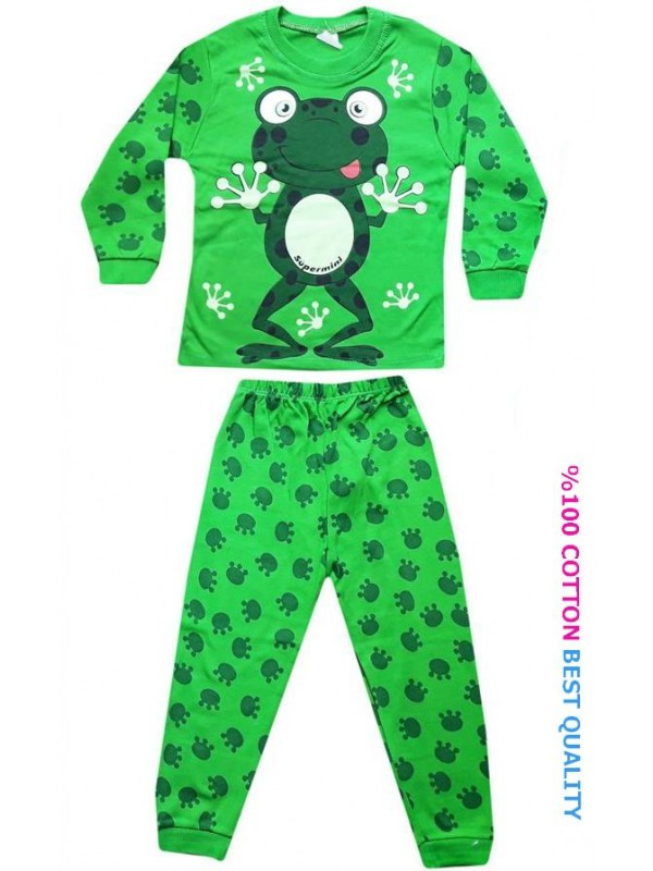4-5-6 age wholesale children pajamas suit frog print model1
