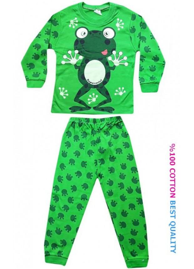4-5-6 yaş toptan çocuk pijama takım kurbağa baskılı model1