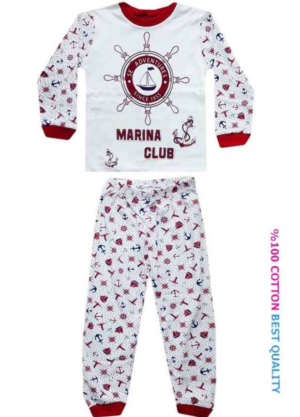 4-5-6 yaş toptan çocuk pijama takım denizci baskılı model1