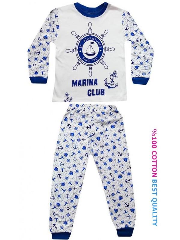 4-5-6 yaş toptan çocuk pijama takım denizci baskılı model2