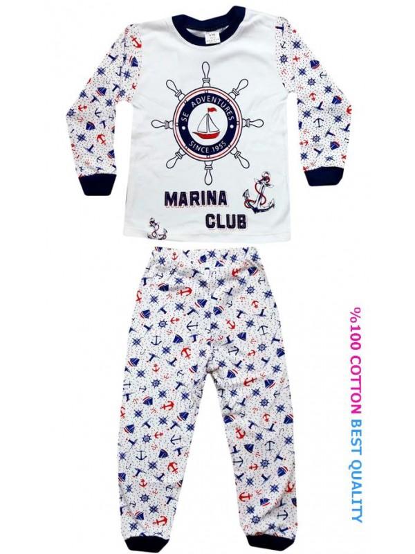 4-5-6 yaş toptan çocuk pijama takım denizci baskılı model3
