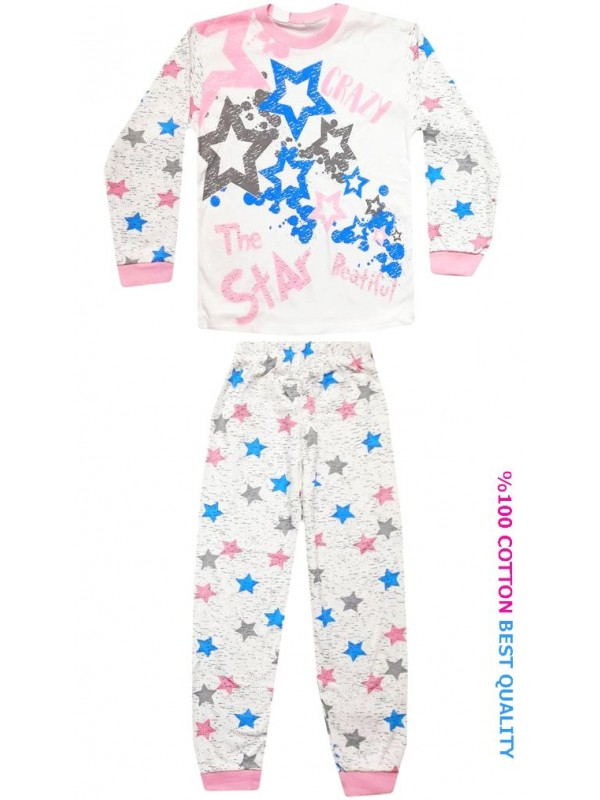 7-8-9 age wholesale children pajamas suit star printed model4