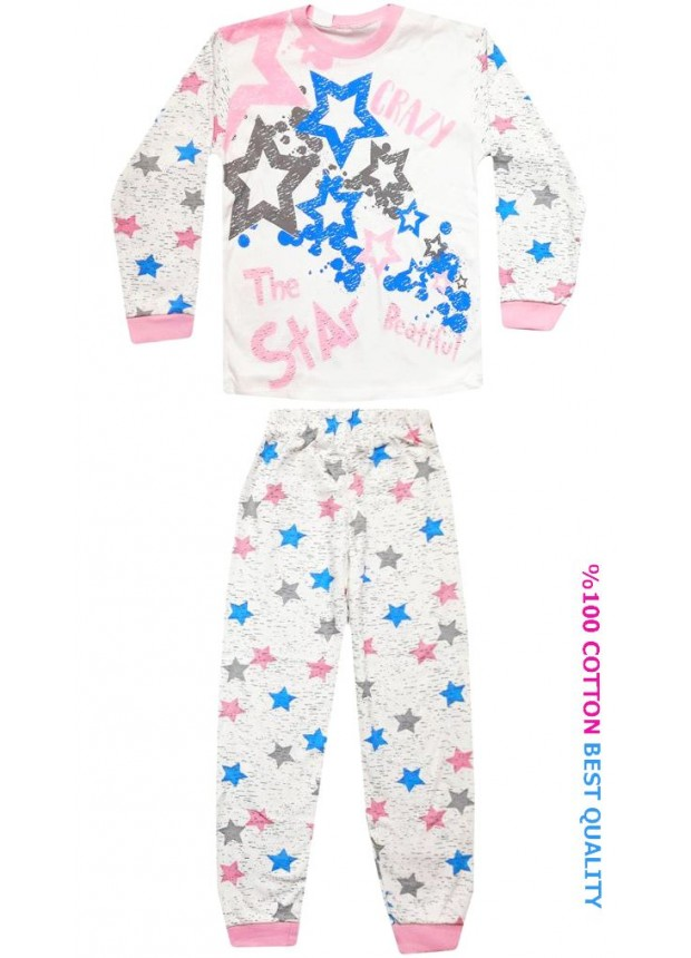 7-8-9 yaş toptan çocuk pijama takım yıldız baskılı model4