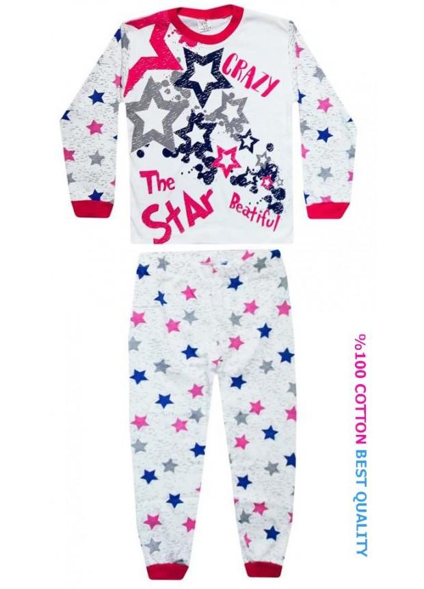 7-8-9 yaş toptan çocuk pijama takım yıldız baskılı model3
