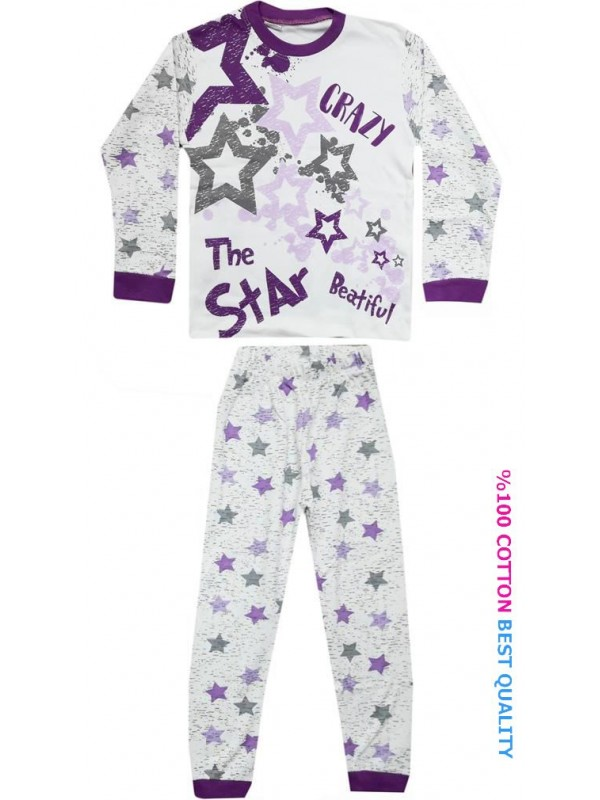 7-8-9 age wholesale children pajamas suit star printed model2