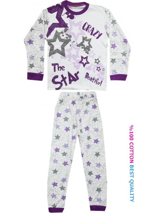 7-8-9 yaş toptan çocuk pijama takım yıldız baskılı model2