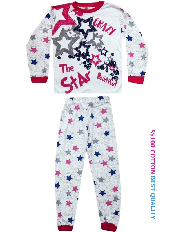 7-8-9 age wholesale children pajamas suit star printed model1
