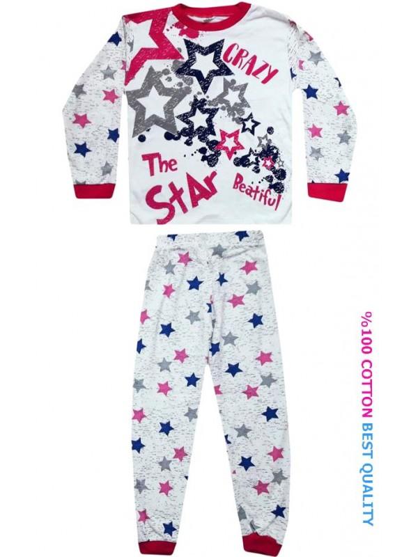 7-8-9 лет оптовые детские пижамные костюмы с принтом звезды model1