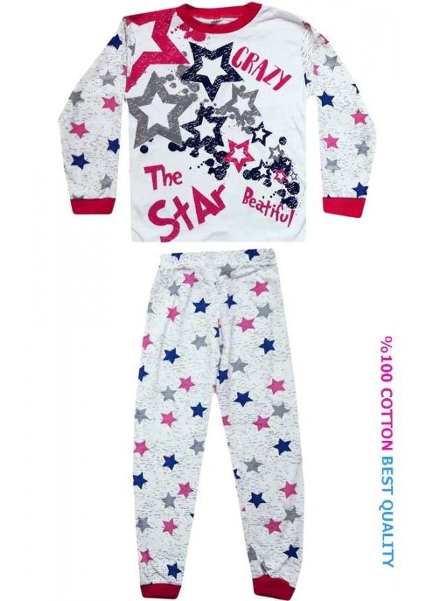 7-8-9 yaş toptan çocuk pijama takım yıldız baskılı model1