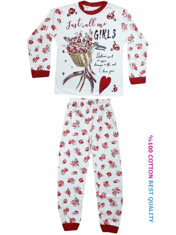 7-8-9 age wholesale girls pajamas suit floral printed model3