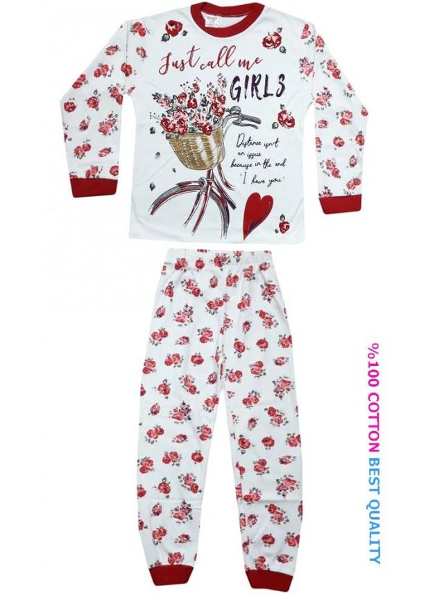 7-8-9 yaş toptan kız çocuk pijama takım çiçek baskılı model3