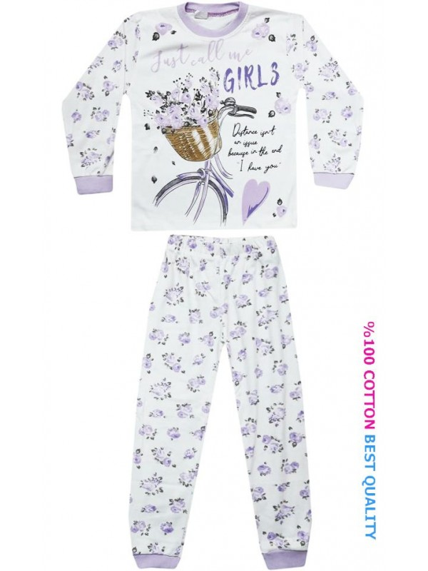 7-8-9 age wholesale girls pajamas suit floral printed model2