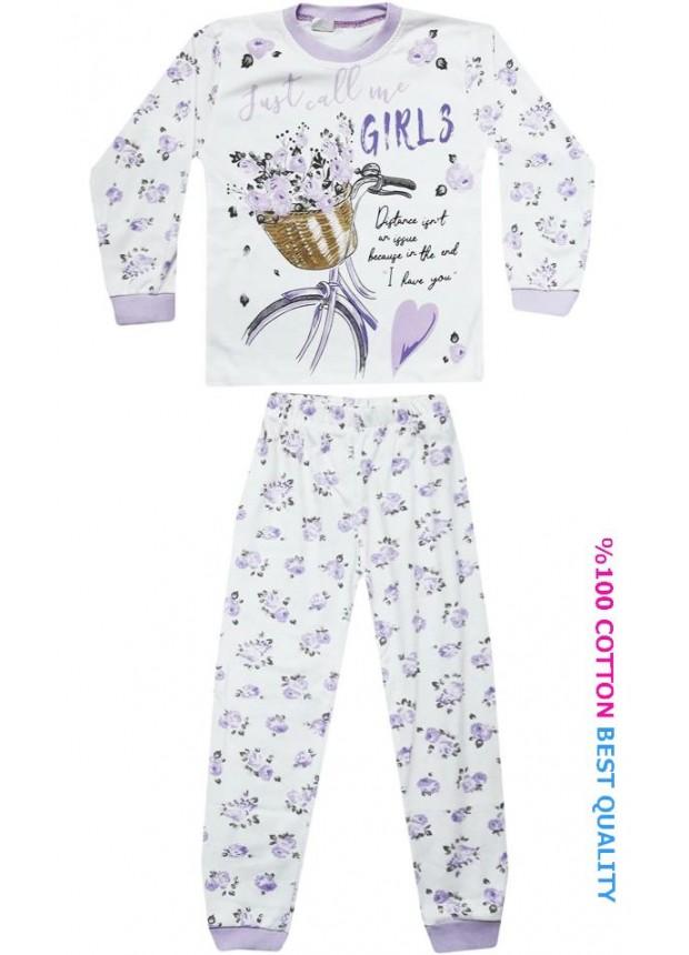 7-8-9 yaş toptan kız çocuk pijama takım çiçek baskılı model2