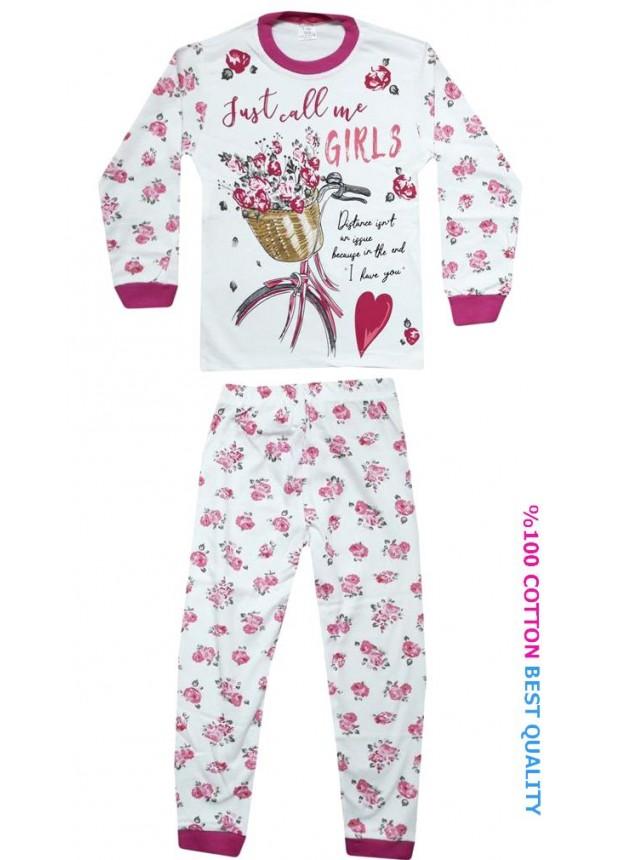 7-8-9 yaş toptan kız çocuk pijama takım çiçek baskılı model1