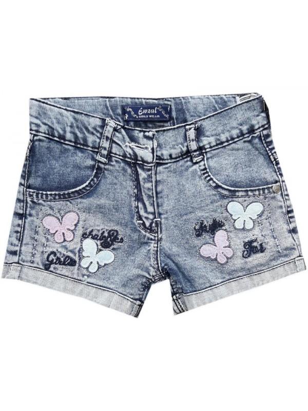 Джинсовые шорты-капри для девочек 3-4-5-6-7-8-9-10-11-12 лет оптом