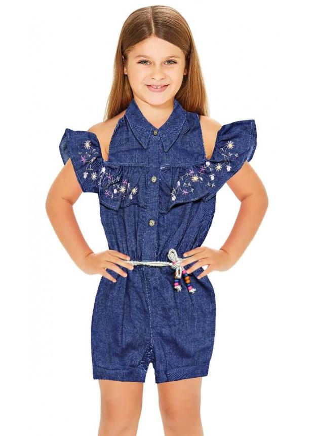 1-2-3 age suspenders jeans girls dress wholesale